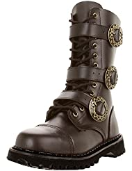 Summitfashions Brown Leather MENS SIZING Combat Boots Gothic Steampunk Boots Hardware