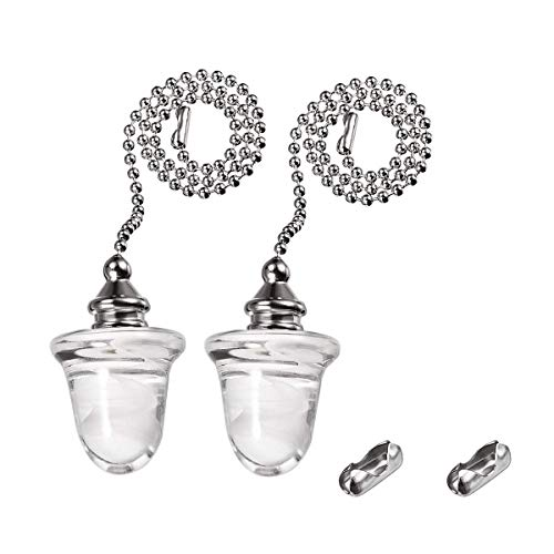 Penck Ceiling Light Fan Pull Chains Ornaments Gorgeous Acorn Glass Pendant 12 inch Brushed Nicke Finish Silver Tone Pull Chain Decorative Pullchains for Ceiling Lights, Fans, 1 Set