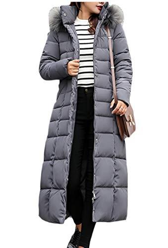 EKU Women Long Down Parka Coat Winter Thicken Slim Fur Hood Jacket Gery