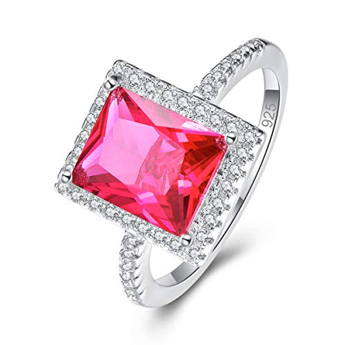 - Narica Women's 925 Sterling Silver Filled Radiant Cut Ruby Spinel Engagement Wedding Rings Band Size 6