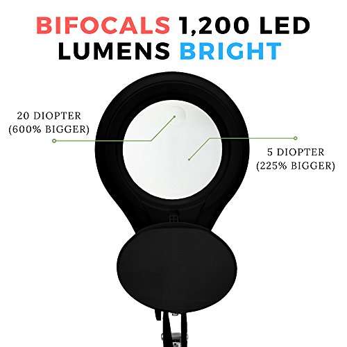 [New Model] Neatfi Bifocals 1,200 Lumens Super LED Magnifying Lamp with Clamp | 5 Diopter with 20 Diopter | Dimmable | 60PCS SMD LED | 5'' Diameter Lens | Adjustable Arm Utility Clamp (Black) by Neatfi (Image #1)