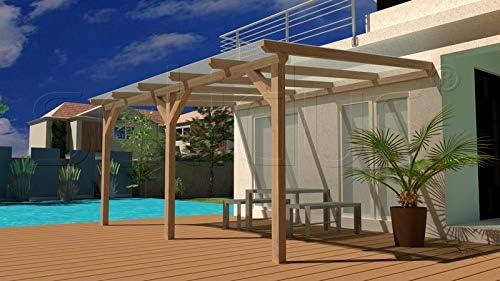 SolidBASIC 600 x 350 cm BxT Cubierta de madera laminada para terraza + placas alveolares +
