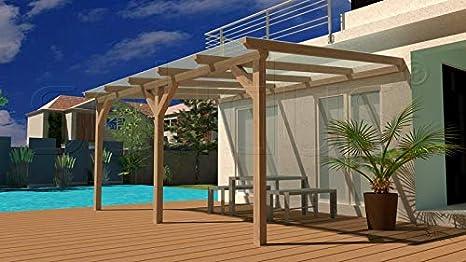 solidBASIC - Toldo para terraza de 600 x 350 cm, madera encolada + planchas alveolares + accesorios – sin tratar/natural – techo para terraza de madera, toldo para el jardín, pavillión, 6 x 3, 5 m: Amazon.es: Jardín