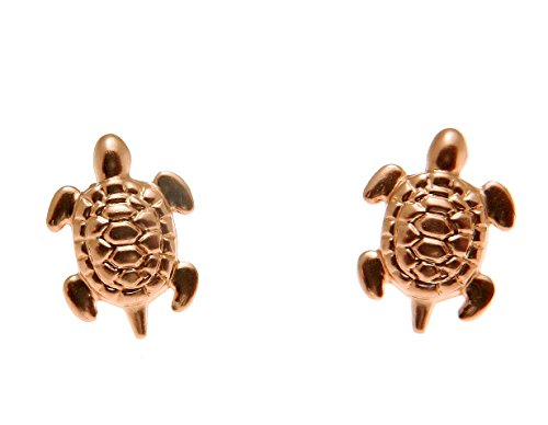 14K solid rose gold small 8mm Hawaiian sea turtle honu stud post earrings