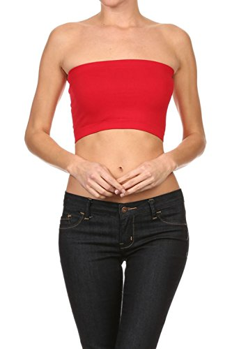 Bubble B Women's Seamless Solid Colored Bandeau Tube Top Red One -