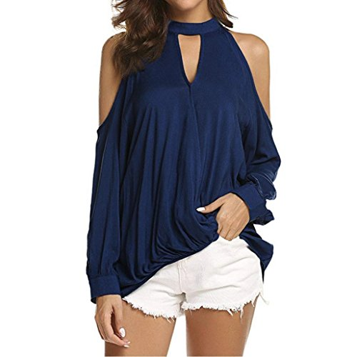 Forthery Women Cold Shoulder Tunic Tops Halter Long Sleeve T Shirts Blouse Newest(Navy, X-Large)