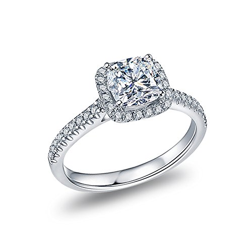 Sterling Silver 1 ct. Cubic Zirconia Cut Cushion Halo Style Solitaire Engagement Wedding Ring