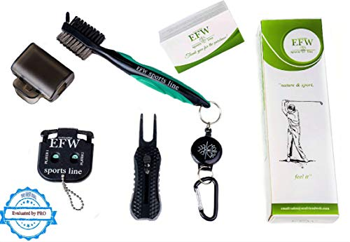 Golf Brush Club and Groove Cleaner Set Tools - 2 Ft Retractable Zip-line and Two Launching Gifts for Our customers - New Golf Divot Repair with Magnetic Ball Marker and Score Counter for 2 Players