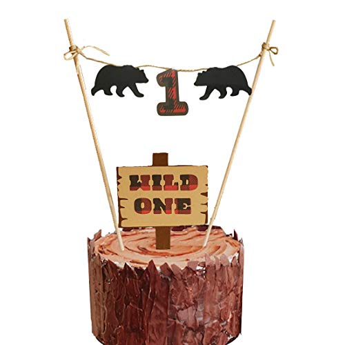 HEETON Lumberjack First Birthday Wild One Cake Topper Party Supplies Decorations,Christmas Buffalo Plaid Camping Wild Bear 1st Birthday Party High Chair Baby Boy Photo Photo