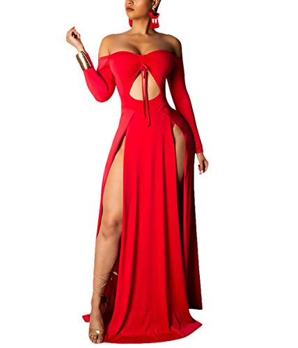 Sexy Maxi Dress for Women Strapless Long Sleeve Keyholes Bandage Slit Summer Beach Long Swing Dress Red M