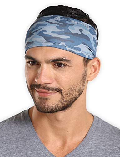 Mens Headband - Running Sweat Head Bands for Sports - Athletic Sweatbands for Workout/Exercise, Tennis & Football - Ultimate Performance Stretch & Moisture Wicking (Best Exercises For Football)