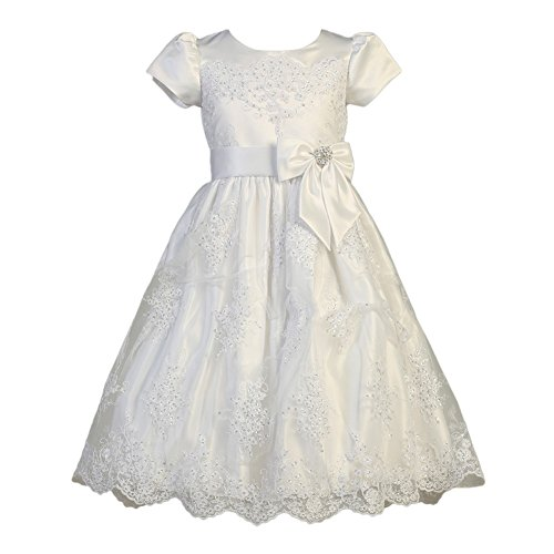 Lito Big Girls White Corded Tulle Sequin Satin Holly Communion Dress 10