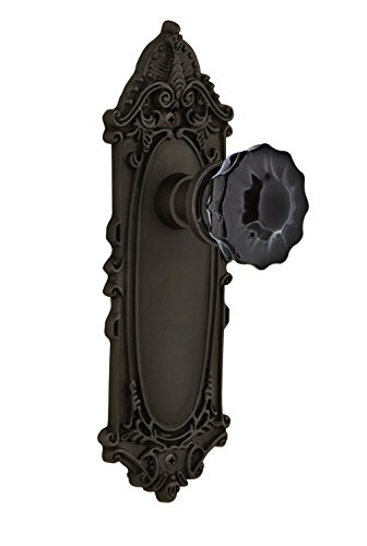 (Nostalgic Warehouse 727337 Victorian Plate Privacy Crystal Black Glass Door Knob in Oil-Rubbed Bronze, 2.375)