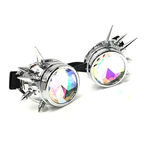 (3D Rainbow Prism Kaleidoscope Rave Glasses, Diffraction Steampunk Goggles, Shiny Silver Spikes)