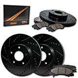 Max Brakes Front + Rear E-Coated Slotted Drilled Rotors w/Ceramic Pads Elite Brake Kit KT103683 | Fits: 2010 10 Suzuki SX4 w/Rear Disc Brakes