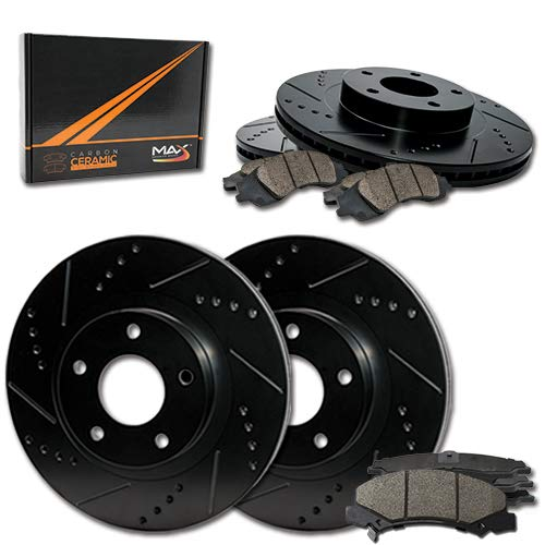 Max Brakes E-Coated Slotted|Drilled Rotors w/Ceramic Brake Pads Front + Rear Elite Brake Kit KT038283 [Fits:2004-2009 Kia Spectra] Max Advanced Brakes