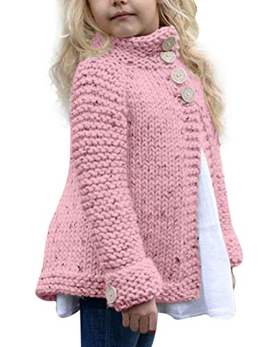 Noubeau Baby Little Girls Cute Autumn Winter Button Knitted Sweater Cardigan Warm Thick Coat Jacket Clothes (Pink, 4T(3-4Years)) ()