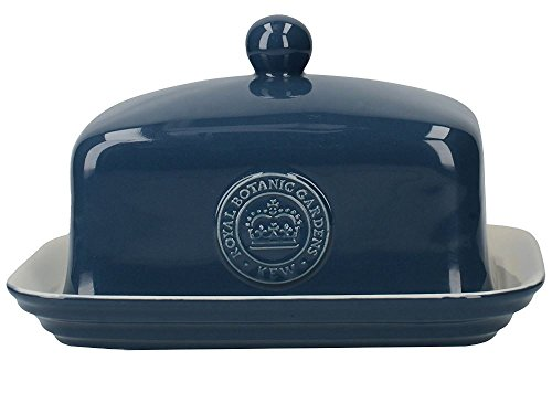 Blue Butter Plate - CreativeTops Royal Botanic Gardens Kew Richmond Vintage Style Ceramic Navy Blue Butter Dish with Lid