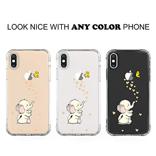 14ab995aa5d1 JAHOLAN Amusing Whimsical Design Beige Cute Elephant Clear Bumper TPU Soft  Case Rubber Silicone Cover Phone Case for iPhone X (2017) / iPhone Xs  (2018) ...