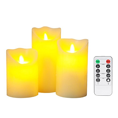 "Flameless Candles , 4"" 5"" 6"" Set of 3 Battery Operated Fl..."
