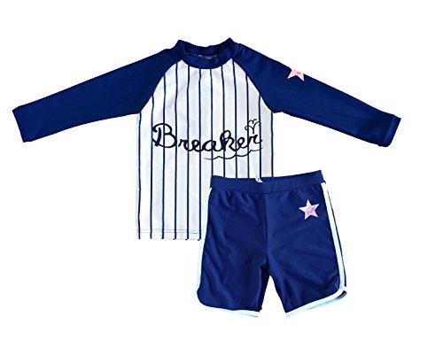 2 Piece Sunsuit Set (Bonverano TM Infant Boy's UPF 50+ Sun Protection Sunsuit Two Pieces Rashguard set (4T, Navy/white))