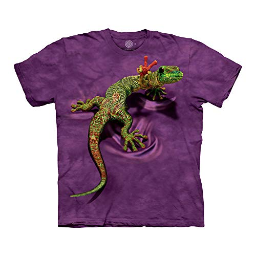 The Mountain Peace Out Gecko Adult T-Shirt, Purple, Large