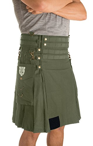 Damn Near Kilt 'Em Men's Tactical Kilt X-Small Military Green by Damn Near Kilt 'Em (Image #9)