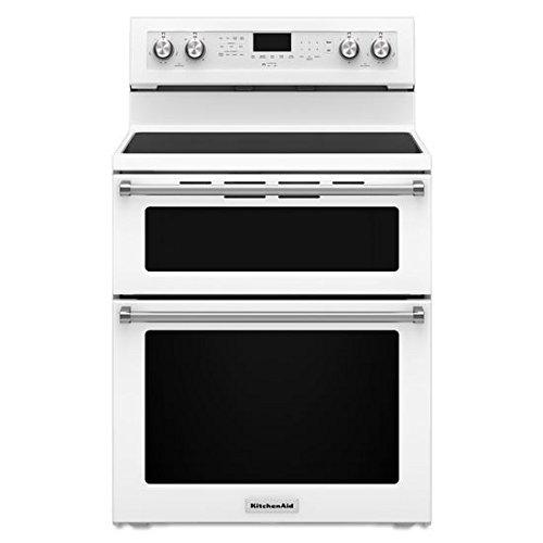 KITCHENAID KFED500EWH Double Oven Electric Freestanding Range, 6.7 cu. ft. Pyro Self-Clean, 1- 6/9/12