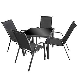 5piezas. Mobiliario de jardín aluminio mesa de cristal con Negro Cristal tablero de mesa 90x 90cm + 4sillas apilables con cordaje Asiento Grupo Asiento–Muebles de Jardín