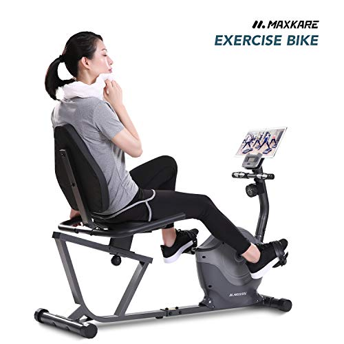 (MaxKare Recumbent Exercise Bike Indoor Cycling Stationary Bike with Heart Rate Sensor and Phone Holder Burns Fat Calories)