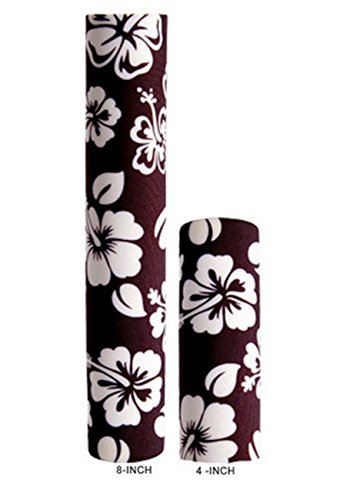 Hair Glove Neoprene Black w/White Hibiscus Flower Pony Tail Holder (4 Inch)