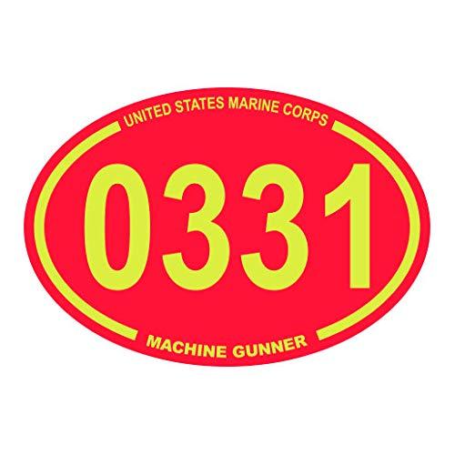 United States Marine Corps MOS 0331 Infantry Machine Gunner Red Oval Sticker Premium Decal Die Cut USMC Semper fi