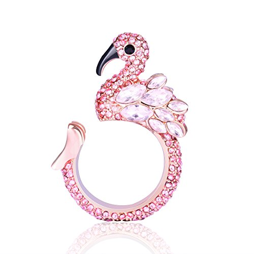 ♥Valentine's Day Gift♥ Animal Ring Cute Flamingo for Young Womens Gifts Mom Birthday Teens Girls Party Cuff Statement Ring
