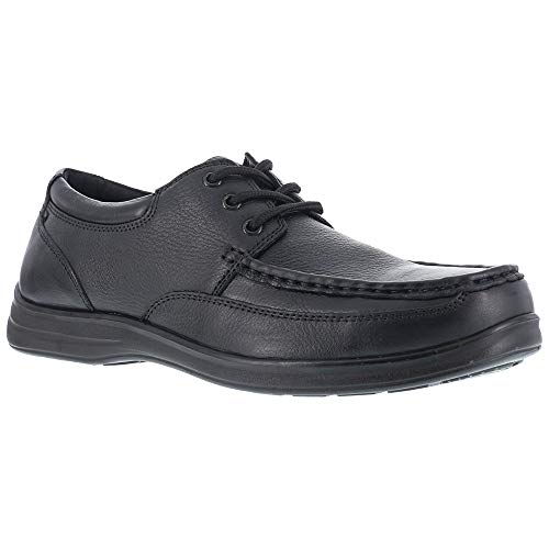 Florsheim Womens Black Leather Oxford Shoes Wily Moc Laceup Steel Toe 8 D