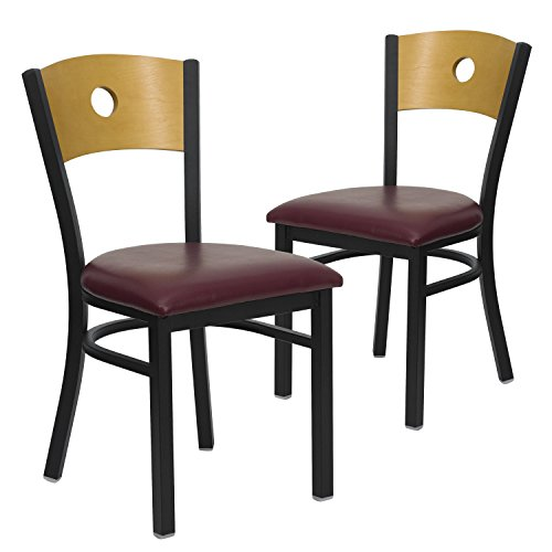 Flash Furniture 2 Pk. HERCULES Series Black Circle Back Metal Restaurant Chair - Natural Wood Back, Burgundy Vinyl Seat