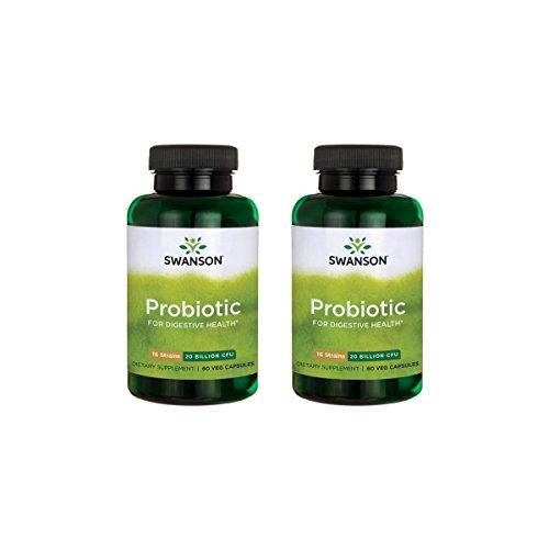 Swanson Probiotic for Digestive Health 20 Billion Cfu 60 Veg Caps 2 Pack