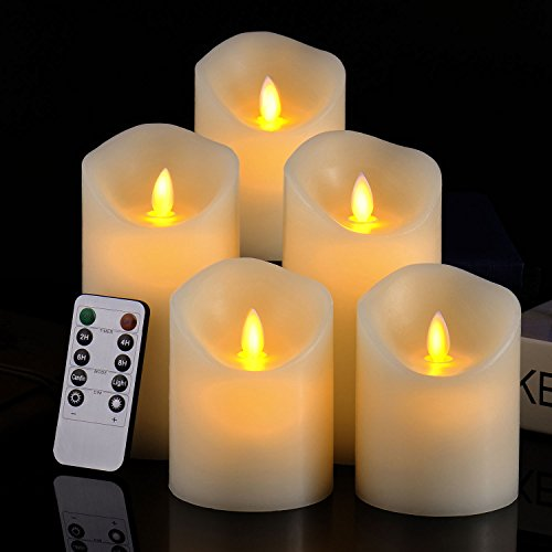 Pandaing Set of 5 Realistic Moving Flame Real Wax Flameless Candles with...
