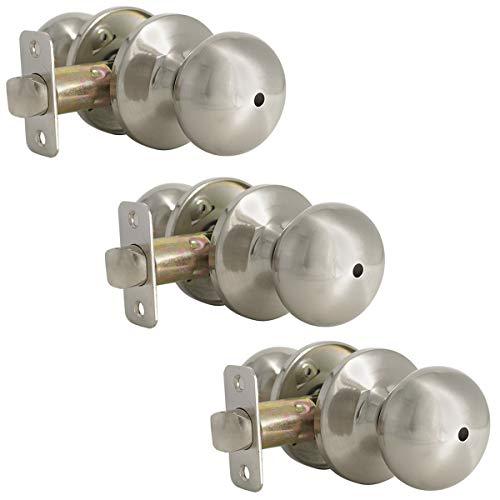 - Probrico Mushroom Privacy Door Lock Set for Bedroom/Bathroom, Stainless Steel Keyless Door Knobs, Interior Bed Bath Door Handles, Satin Nickel, 3 Pack