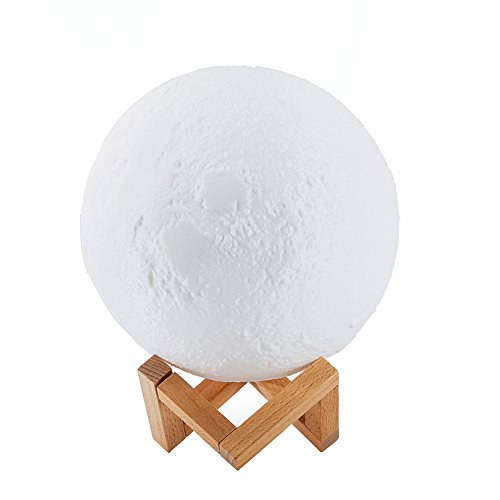 Ocamo Desk Lamp Simulation 3D Moon Night Light Earth Light, 3 LEDs USB Rechargeable Moonlight with Wood Base 10cm by Ocamo (Image #7)