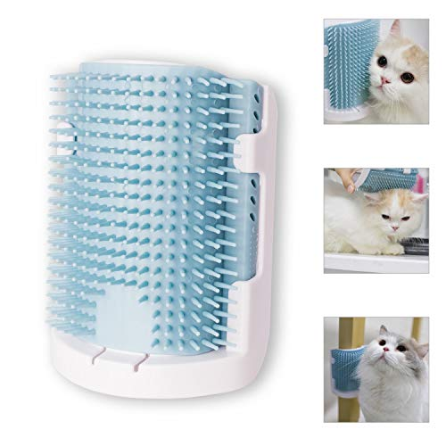 - Holly Whale Cat Corner Groomer with Catnip, Upgraded V3.0 Soft Rubber Bristles Massage Comb, 3 Installation Methods Cat Grooming Brush Toy, Fit for Corner, Flat Wall and Cage (Blue)