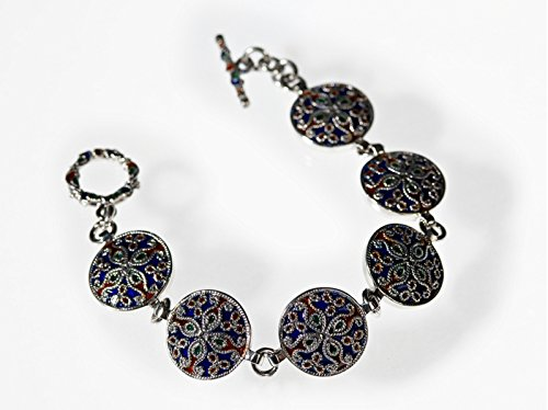 Indien motif Bracelet en argent avec émail