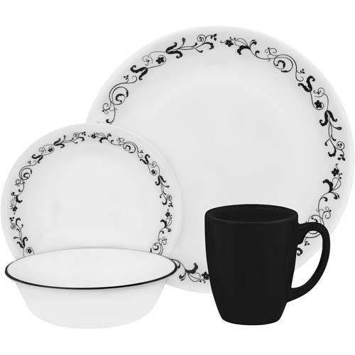 corelle black and white dishes - 2