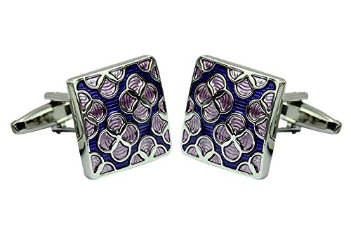 Daptsy Purple flower square enamel cufflinks classy bullet cufflinks brass art deco fashion cufflinks