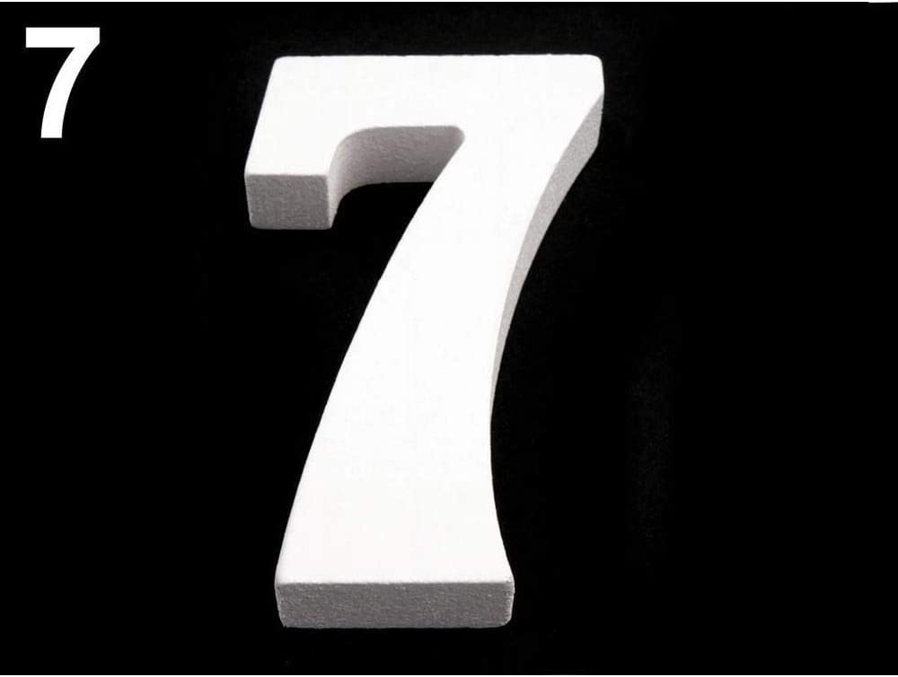 "1pc""7"" Milky 3D Decorative Numbers, Question Mark, Exclamation Point, Height 8cm, Wooden Decorations, Metal, and Glass"