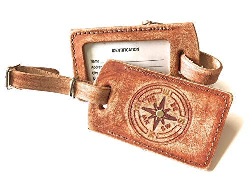 Rustic Tan Compass Rose Leather Luggage Tag in Boho Style with Name Plate Bag ()