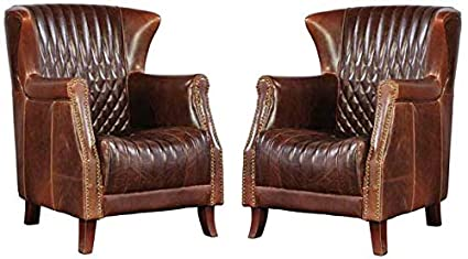 Magnificent Amazon Com Pair Of 2 Paris Flea Market Cigar Leather Club Forskolin Free Trial Chair Design Images Forskolin Free Trialorg