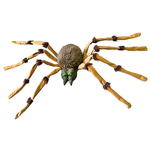 Halloween Haunters Giant 4 Foot Realistic Scary Brown Furry Spider Prop Decoration - Creepy Crawly Striped Fury Hairy Legs -