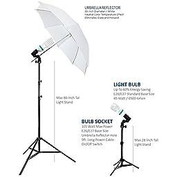 Julius Studio Photography Studio Video Portrait Umbrella Continuous Bulb Triple Lighting Kit JSAG1