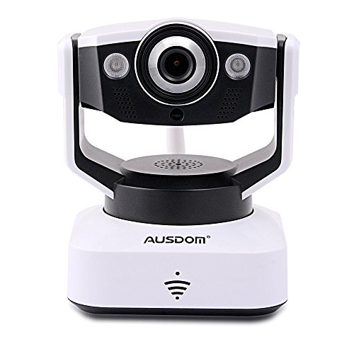 AUSDOM D2 Megapixel H.264 Home Security surveillance Camera HD 720P WiFi Wireless Pan&Tilt IP/Network Camera Baby Monitor with 2-Way Audio, Wide Viewing angle, Night Vision, Android IOS APP Remote Monitoring, motion sound detectors, Automatically alert (White)