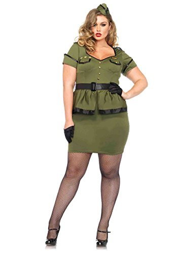 Leg Avenue Women's Plus-Size 3 Piece Commander Cutie Military Costume, Khaki, 3X - Military Pin Up Girl Costumes